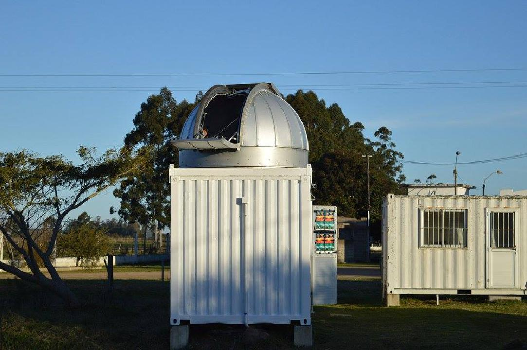 Outside view of the CURE observatory dome with the door open.