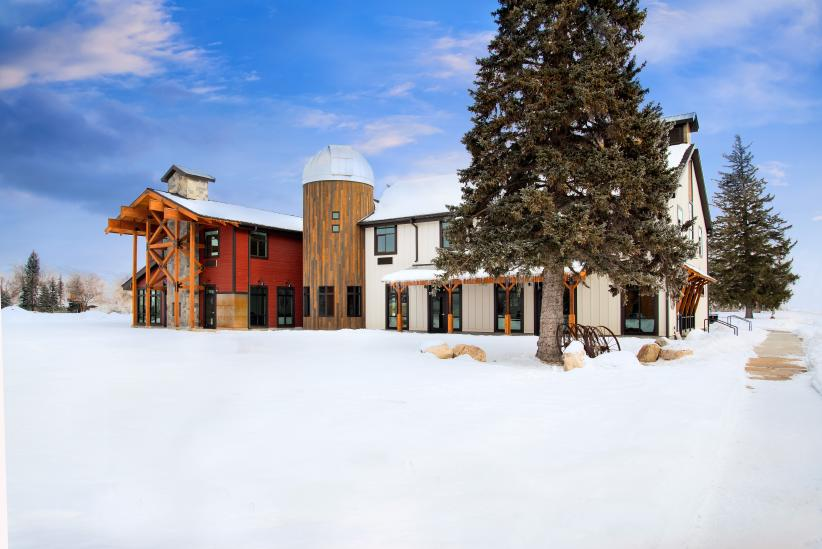 Outdoor view of Compass Rose Lodge and HALO Ash-Dome