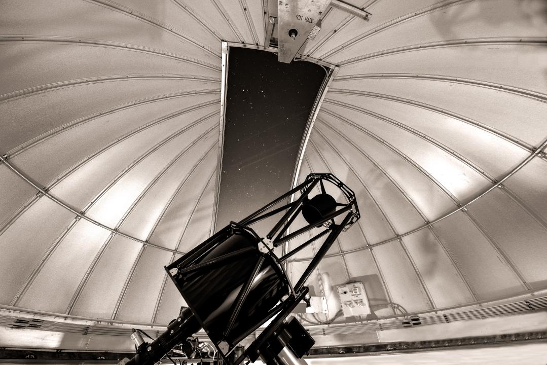 Sepia filter of the HALO Observatory telescope from inside the Ash-Dome