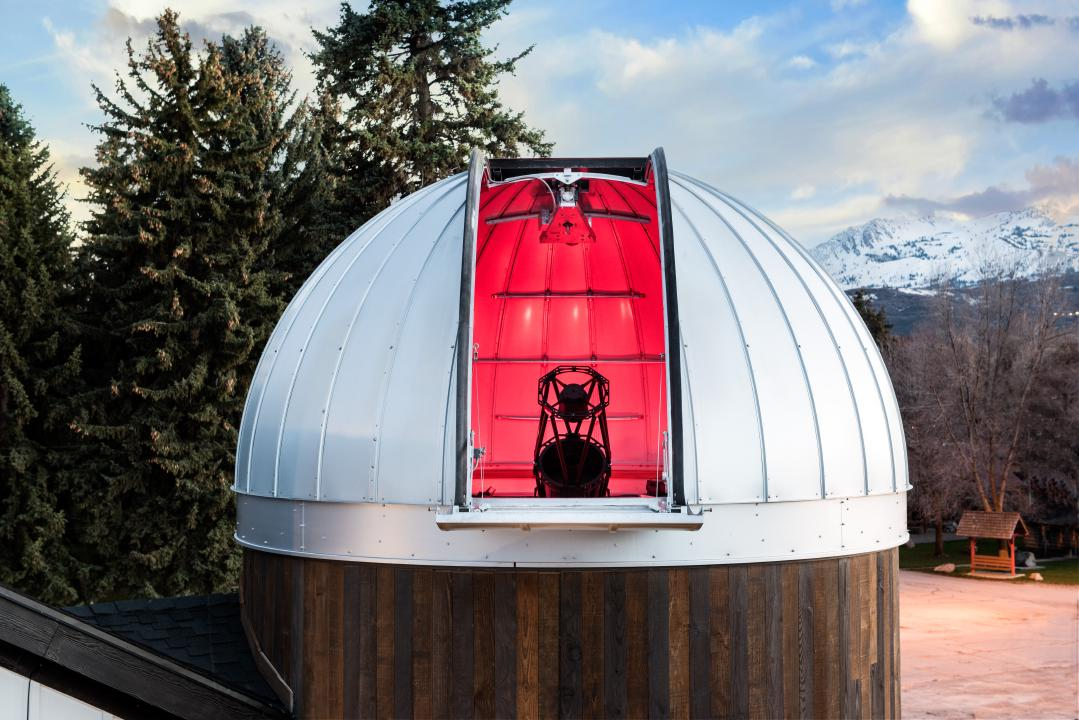 Closer view from outside looking into the HALO Observatory with the Ash-Dome door open