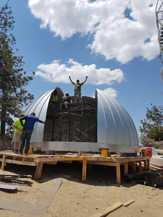 Workers on the Ash-Dome for TAOS-II before it is installed