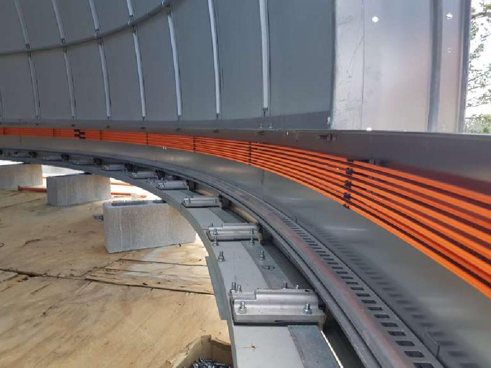 Inside view of the Ash-Dome rail system for TAOS-II.