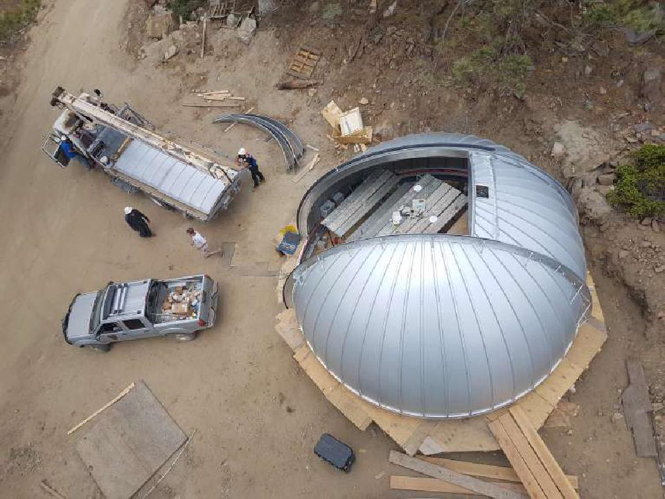Overhead view of the TAOS-II Ash-Dome while it is still on the ground waiting to be installed.