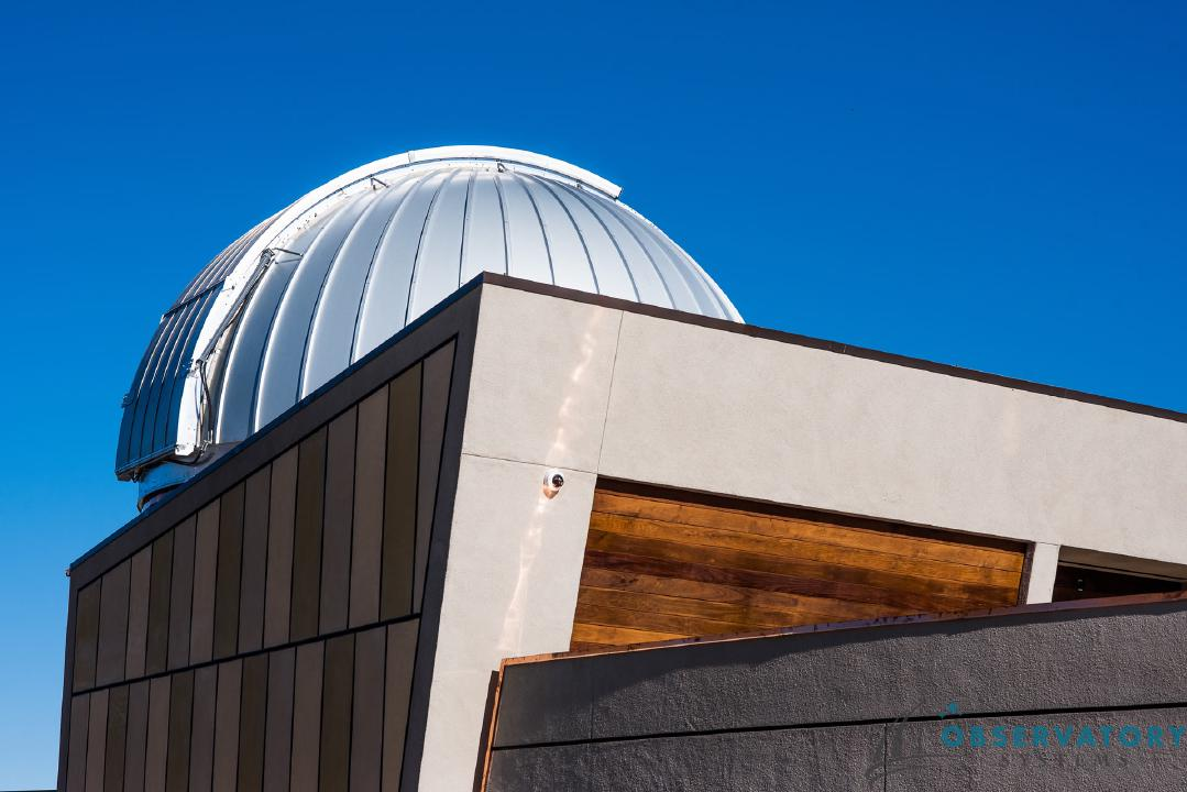Outdoor view of an Ash-Dome atop the Rancho Mirage Observatory