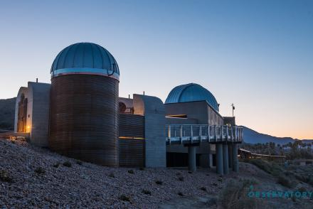 Outdoor view of the Rancho Mirage Observatory at sunset.